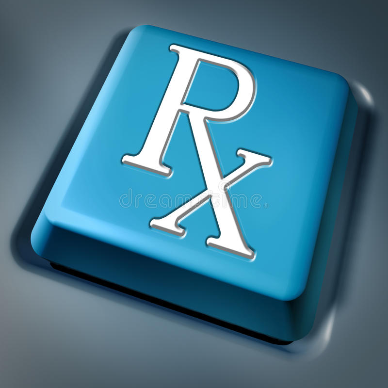 Touche d'ordinateur bleue de rx de prescription illustration de vecteur