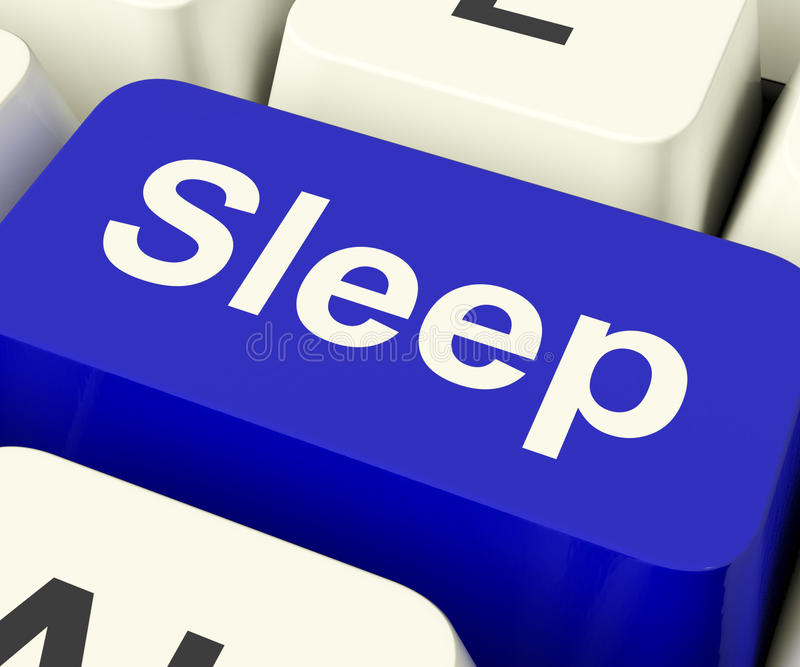Touche d'ordinateur de sommeil montrant des désordres d'insomnie ou de sommeil en ligne photographie stock libre de droits