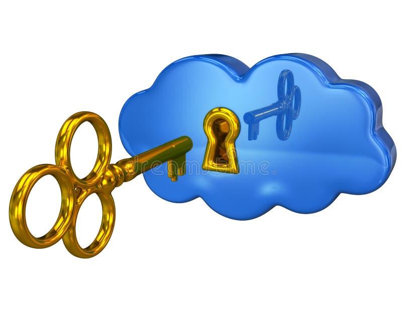 Touche fonctions étendues et nuage bleu avec un trou de la serrure illustration libre de droits