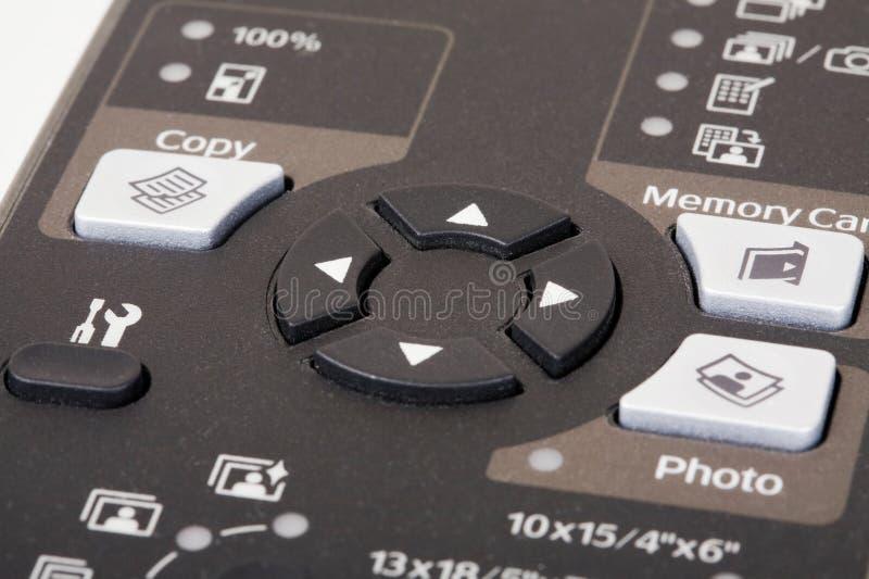 Touches de déplacement du curseur d'imprimante photographie stock