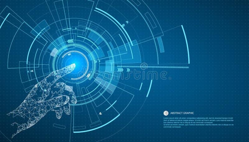 Touchez l'avenir, la technologie d'interface, l'avenir de l'expérience d'utilisateur illustration libre de droits