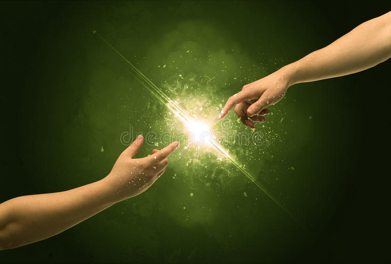 Touching arms lighting spark at fingertip royalty free stock photos