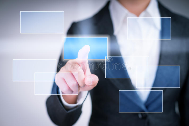 Touching button on virtual touch screen royalty free stock images