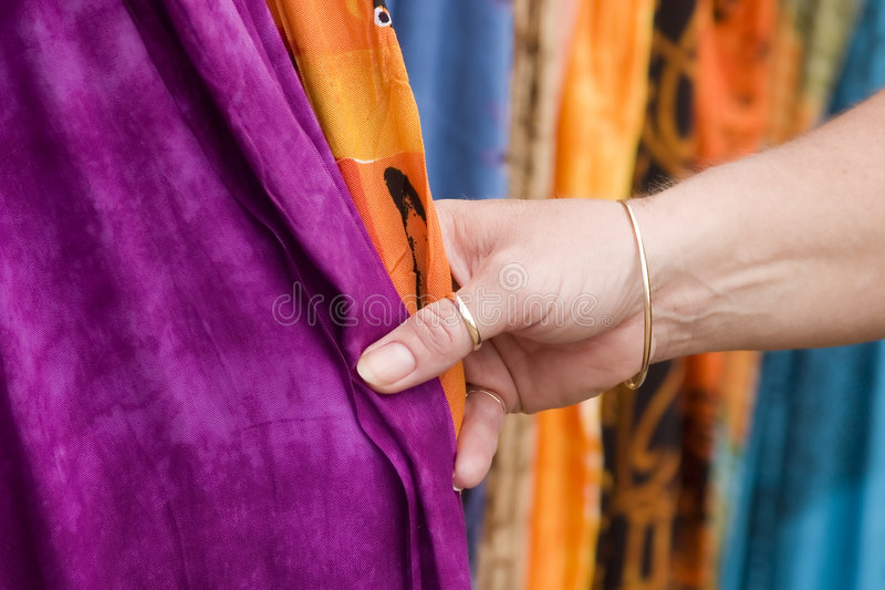 Touching fabric 2 royalty free stock photos