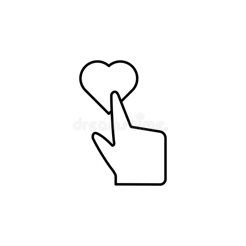 Touching, heart, add, touch icon. Element of corruption icon. Thin line icon on white background vector illustration