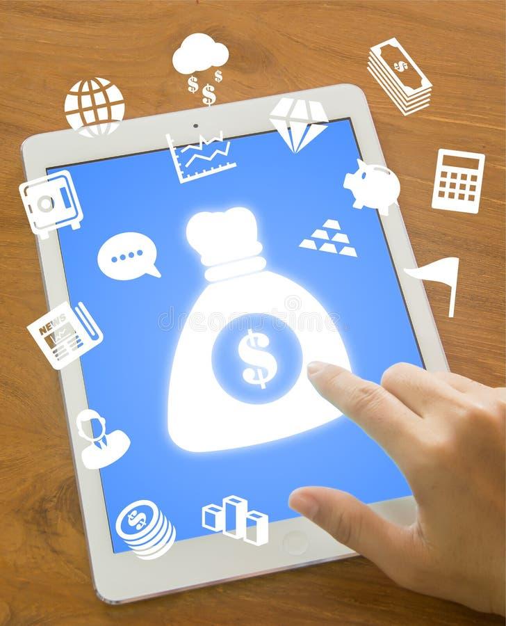 Touching money bag icon stock image