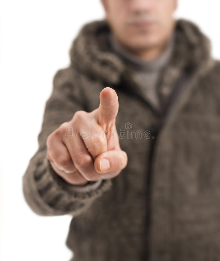 Touching nothing with winter wear royalty free stock photos