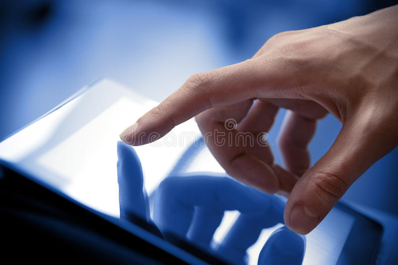 Touching Screen On Tablet PC stock photos