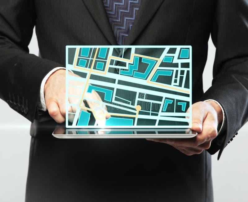 Touchpad com mapa imagem de stock royalty free