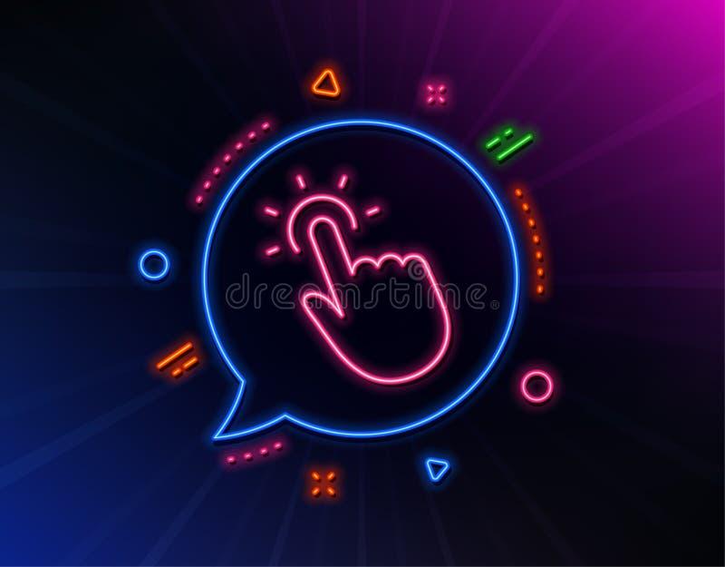 Touchpoint linii ikona klika tutaj szyldowego wektor ilustracji