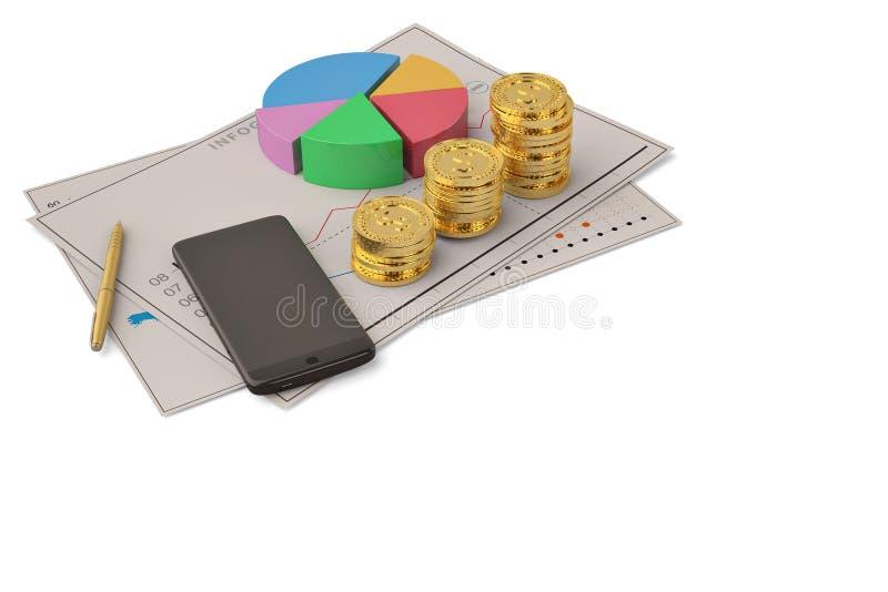 Touchscreen bedrijfs financiële van het bedrijfsgrafiekcirkeldiagram smartpho royalty-vrije illustratie