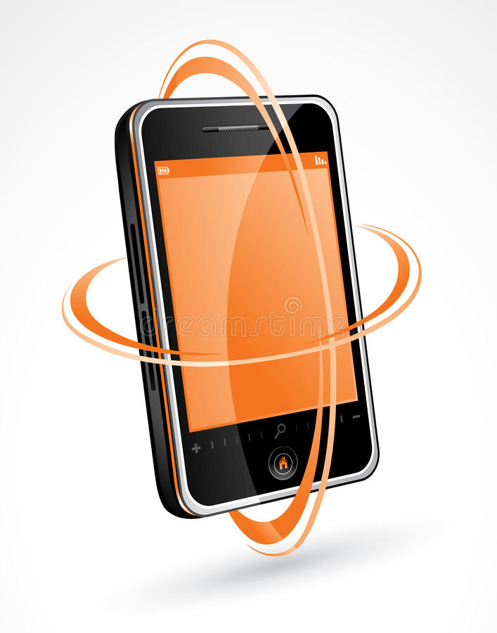 Download Touchscreen Cellphone stock vector. Image of rings, mobile - 13409628