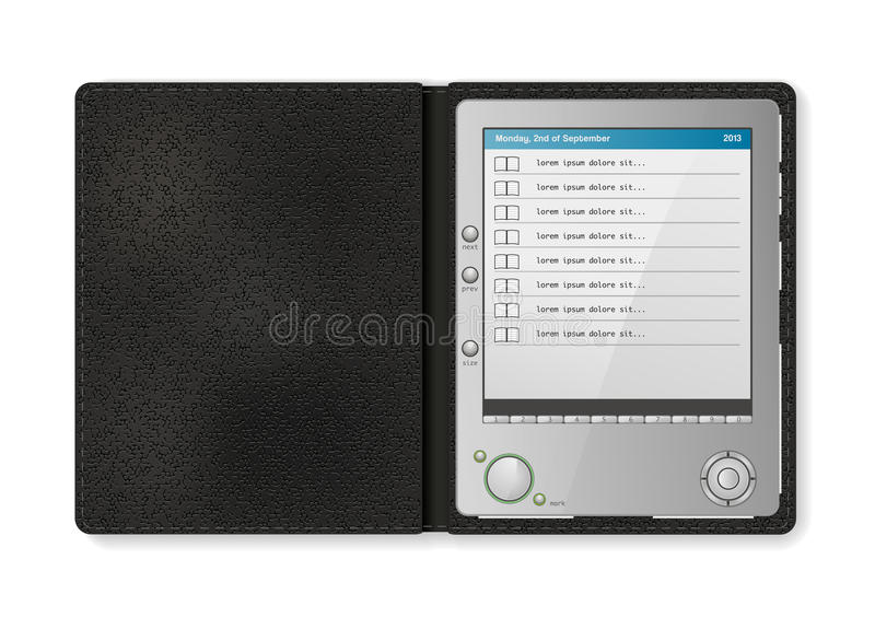 Touchscreen diary. In leather case royalty free illustration