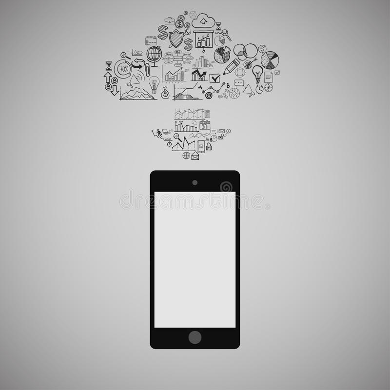 Touchscreen Smart Phone with Cloud of Media Application Icons. Vector Image vector illustration