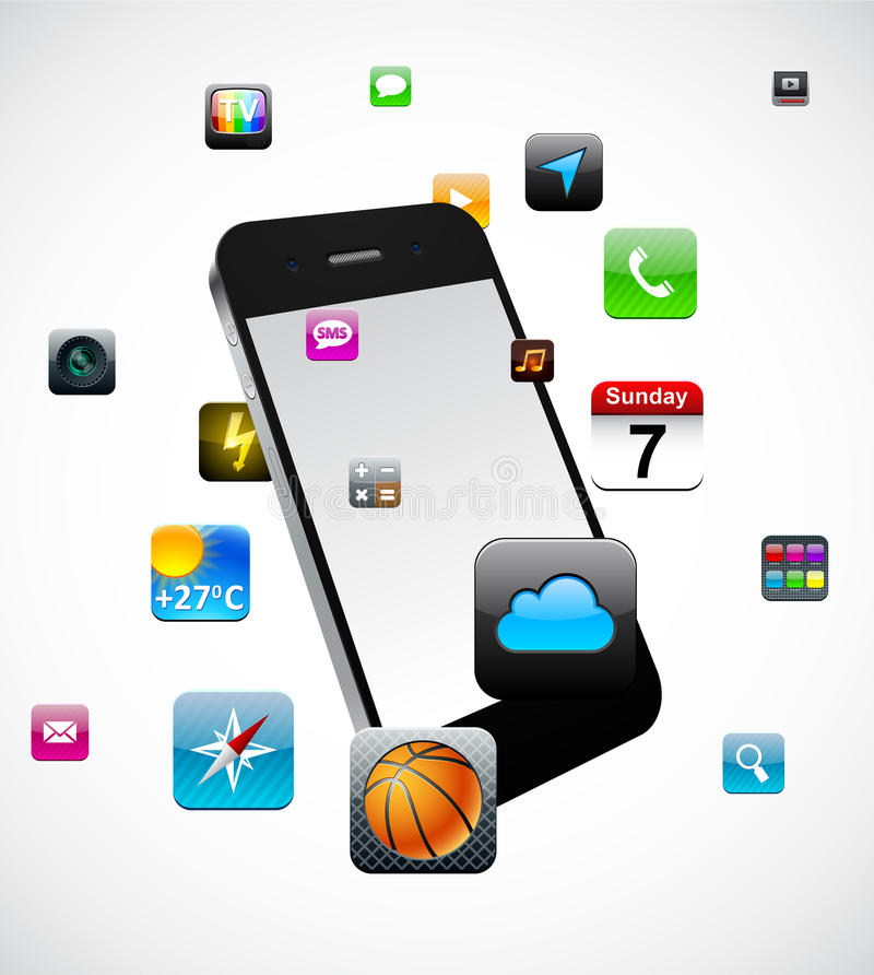 Touchscreen smartphone concept. Vector Concept communicator with app icons vector illustration