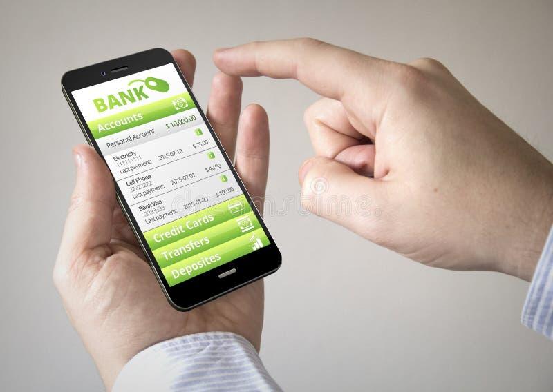 Touchscreen smartphone met online banktoepassing op scre stock illustratie