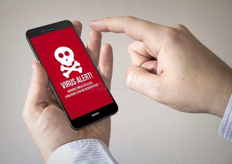 Touchscreen smartphone met virus op het scherm stock afbeelding