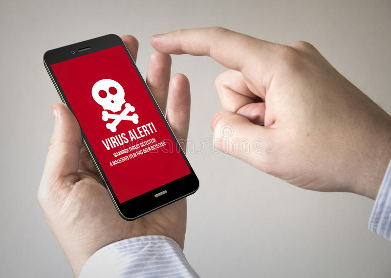 Touchscreen smartphone with virus on the screen stock image