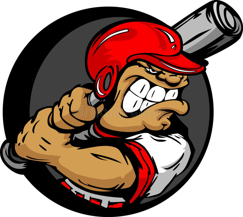 Download Tough Baseball Player With Helmet Holding Bat Stock Vector - Image: 24271804