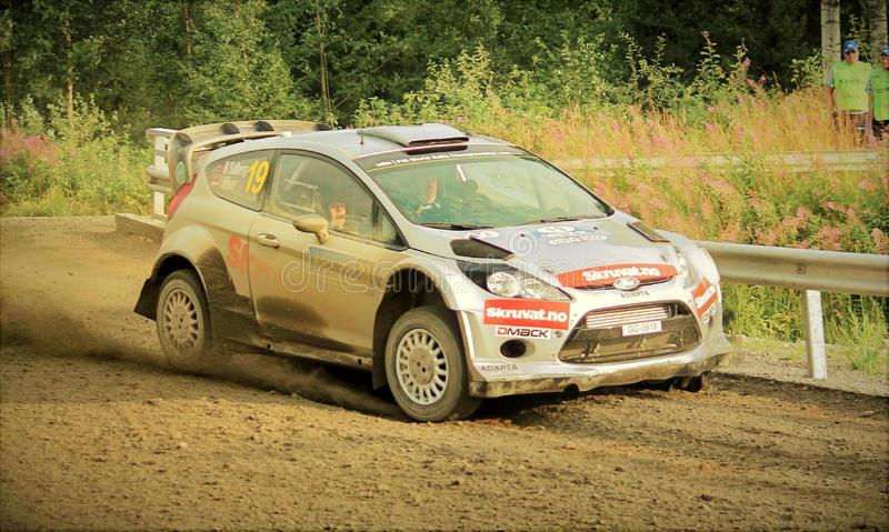 Neste Rally Finland 2017. Tough competition in Neste Rally Finalnd. High speed and high limits on fast gravel raods royalty free stock images