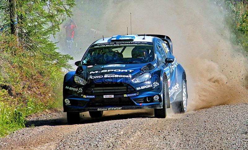 Neste Rally Finland. Tough competition in Neste Rally Finalnd. High speed and high limits on fast gravel raods stock photography
