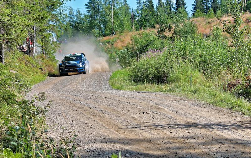 Neste Rally Finland. Tough competition in Neste Rally Finalnd. High speed and high limits on fast gravel raods royalty free stock photo