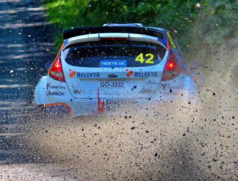 Neste Rally Finland Himos special stage. Tough competition in Neste Rally Finalnd. High speed and high limits on fast gravel raods royalty free stock photos