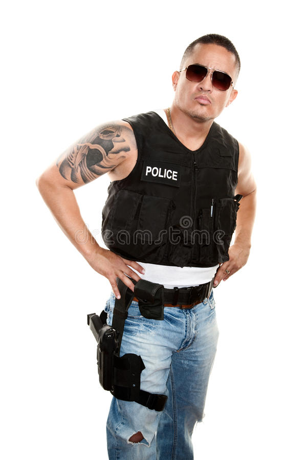 Download Tough Cop stock photo. Image of pistol, tattoo, swat - 12961634