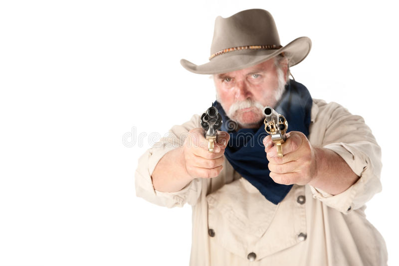 Tough cowboy. Cowboy on white background with guns royalty free stock images