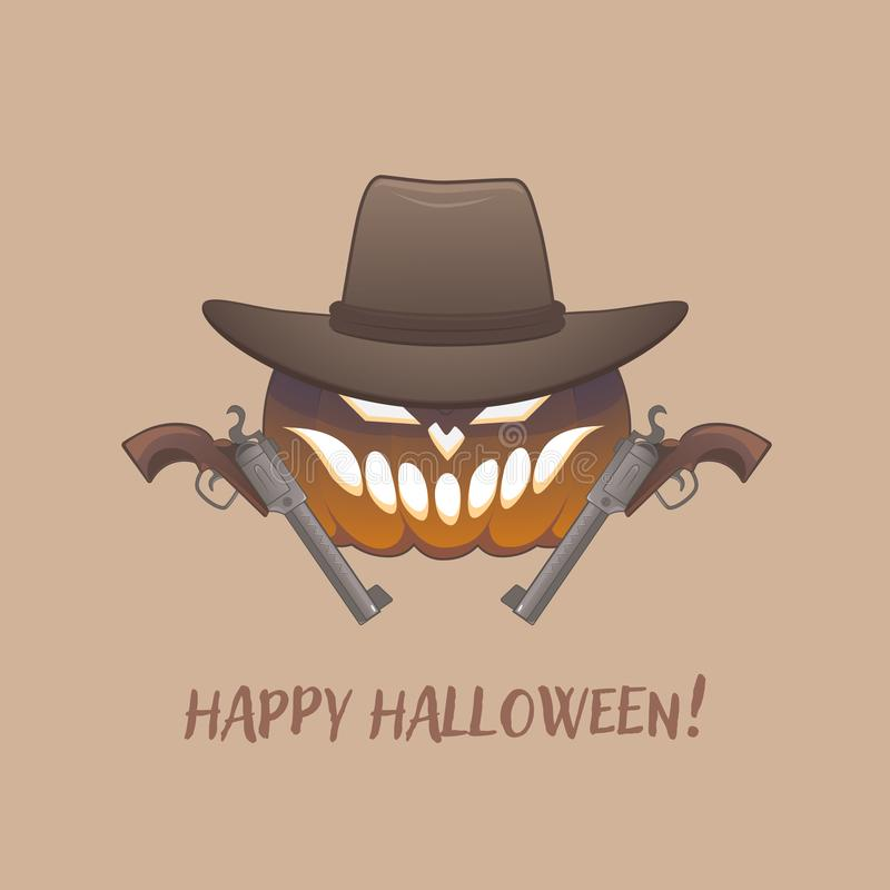 Tough Cowboy pumpkin has two guns and hat vector illustration
