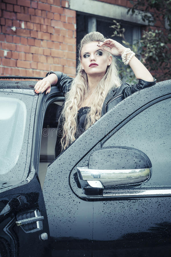 Download Tough Girl in Leather Jack stock image. Image of ruined - 28992089