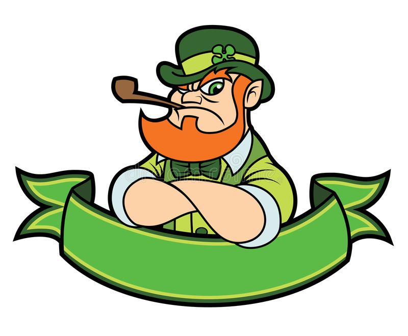 Tough leprechaun over a banner stock illustration