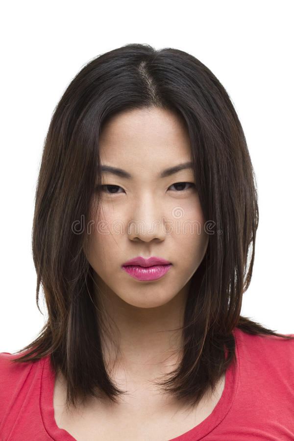 Tough looking Asian woman portrait stock photos