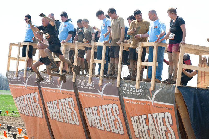 Download Tough Mudder: Racers Jumping Off Walk The Plank Editorial Stock Image - Image: 30715689