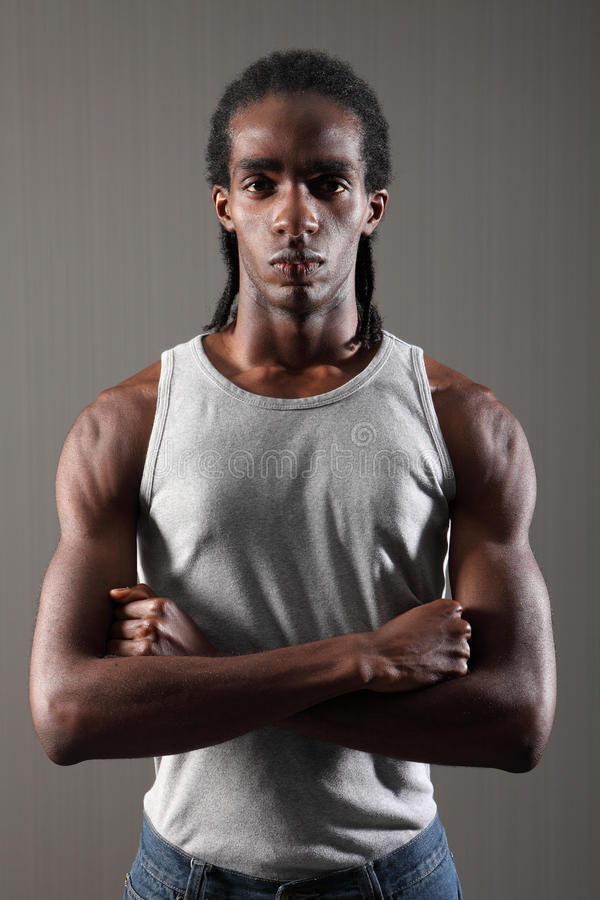 Download Tough Muscles On Mean Young African American Man Stock Image - Image: 21021195