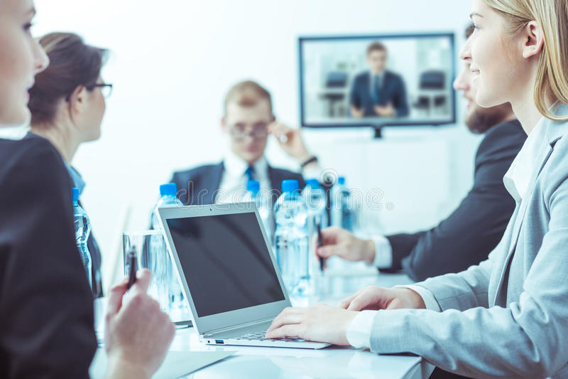 Tough negotiations between businesspeople stock photos