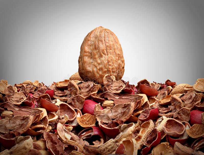 Tough Nut To Crack. Business concept as a solid hard closed walnut on top of a mountain of broken nut shells as a metaphor for difficulty solving a problem or vector illustration