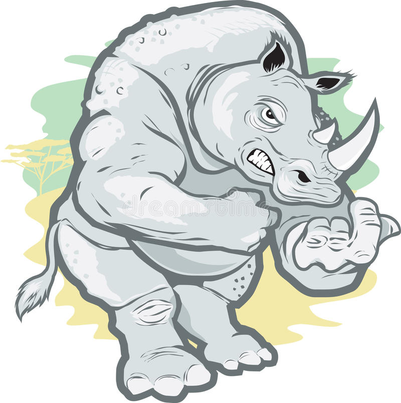 Download Tough Rhino stock vector. Illustration of gesture, strong - 21378945