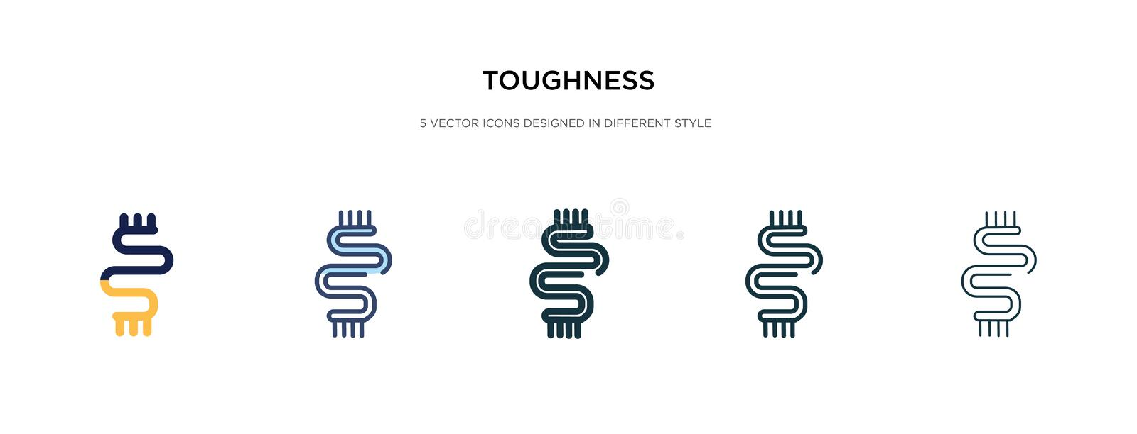 Toughness icon in different style vector illustration. two colored and black toughness vector icons designed in filled, outline,. Line and stroke style can be vector illustration