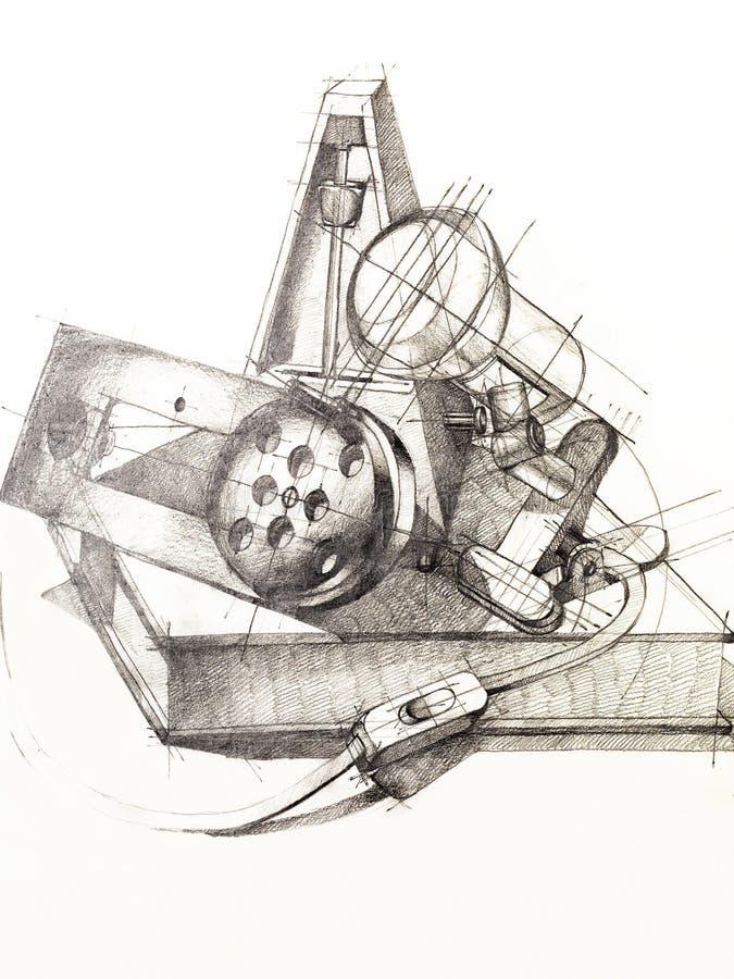 Toujours étude noire et blanche d'objets de durée illustration de vecteur