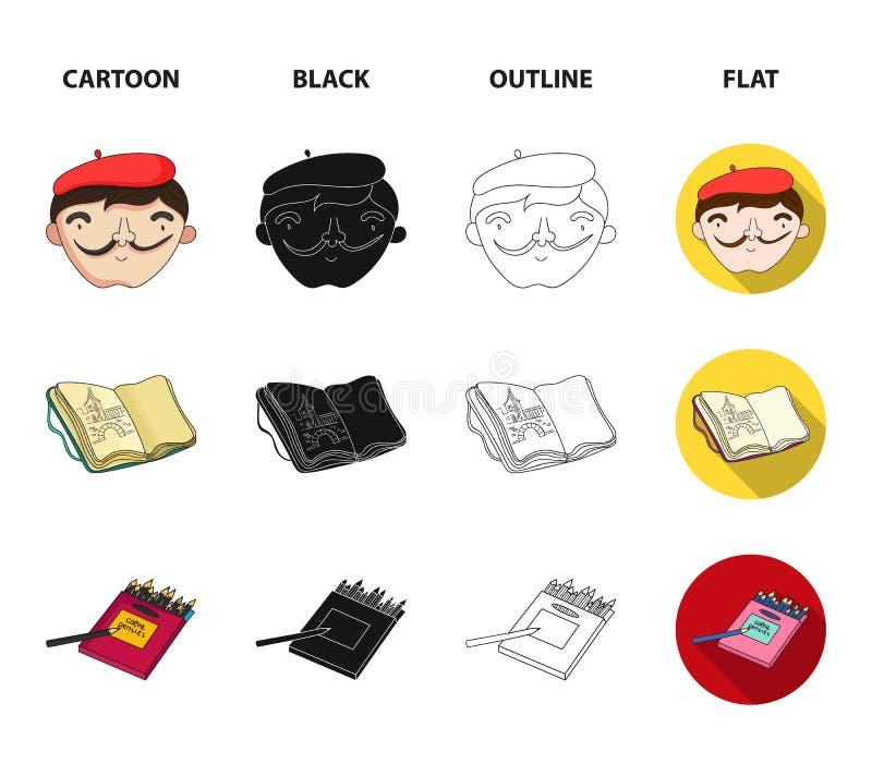 Toujours la vie géométrique, un autoportrait de l'artiste, un carnet avec des dessins, une boîte de crayons colorés Artiste et illustration stock