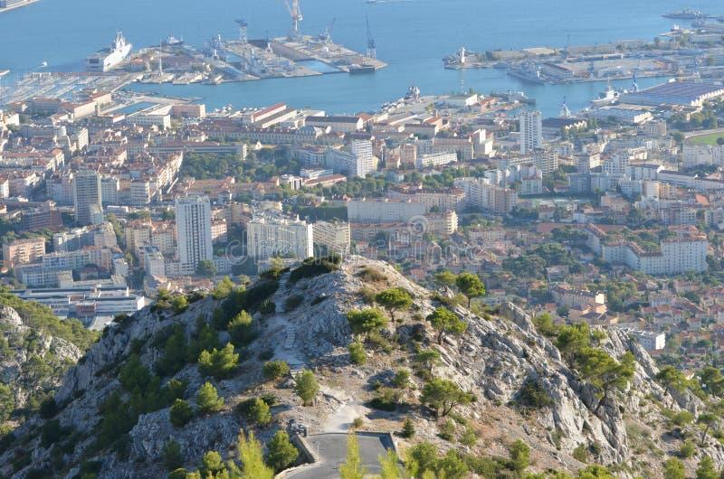 Toulon från Faron arkivbild