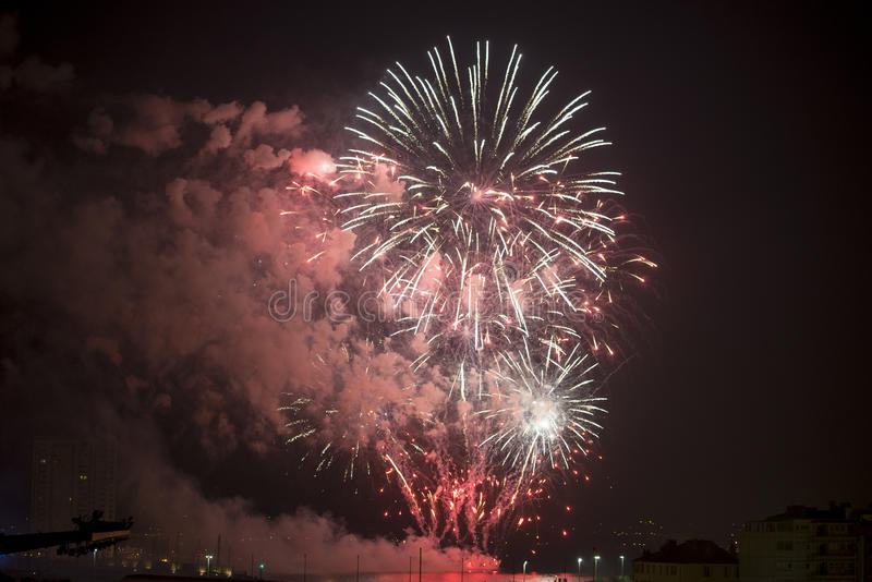 Toulon (France): Fireworks Stock Image