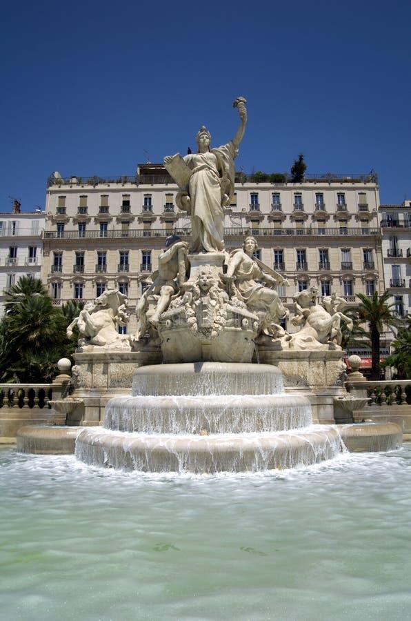 Toulon storslagen springbrunn arkivbild