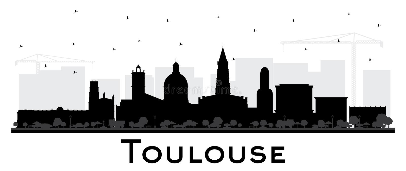 Toulouse France City Skyline Silhouette with Black Buildings Isolated on White. Vector Illustration. Business Travel and Concept with Historic Architecture vector illustration