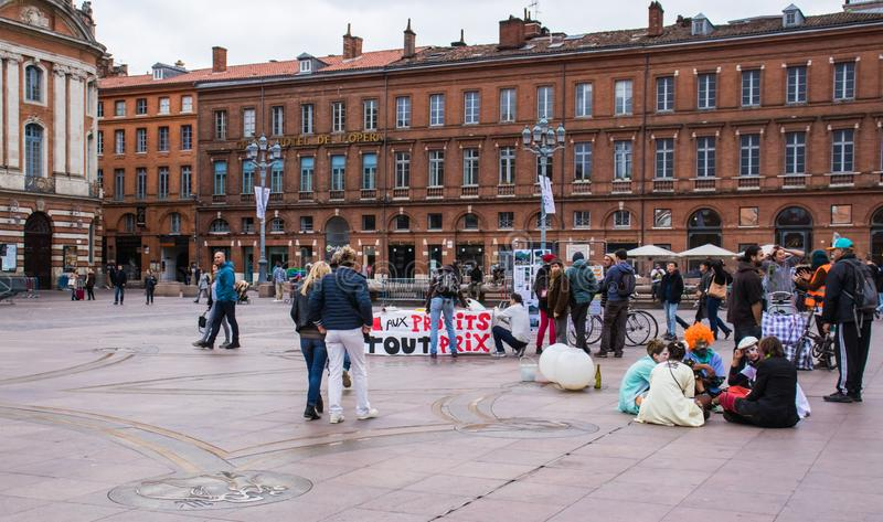 TOULOUSE, FRANCE - OCTOBER 29,2017: activists opposing the reopening of the Salau tungsten mine in France. TOULOUSE, FRANCE - OCTOBER 29,2017: activists stock photo