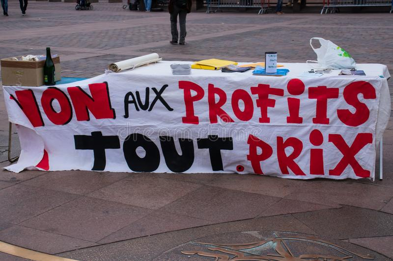 TOULOUSE, FRANCE - OCTOBER 29,2017: The activists opposing the reopening of the Salau tungsten mine in France. TOULOUSE, FRANCE - OCTOBER 29,2017: The activists royalty free stock image