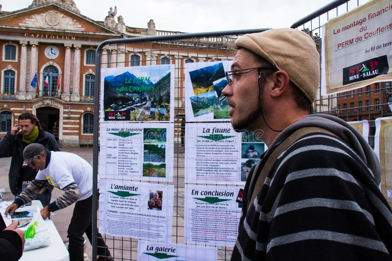TOULOUSE, FRANCE - OCTOBER 29,2017: The activists opposing the reopening of the Salau tungsten mine in France. TOULOUSE, FRANCE - OCTOBER 29,2017: The activists stock images