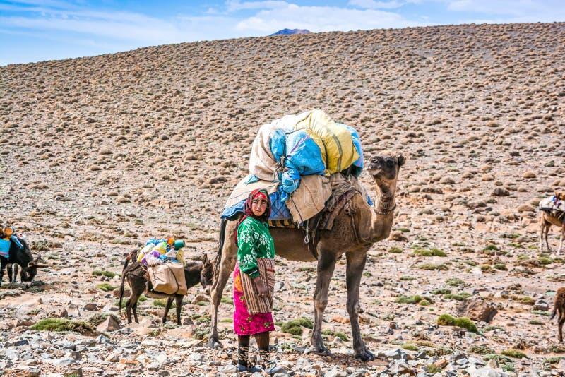Toumliline Marocko - Oktober 06, 2013 Berberkvinna med kamlet i berg royaltyfri foto