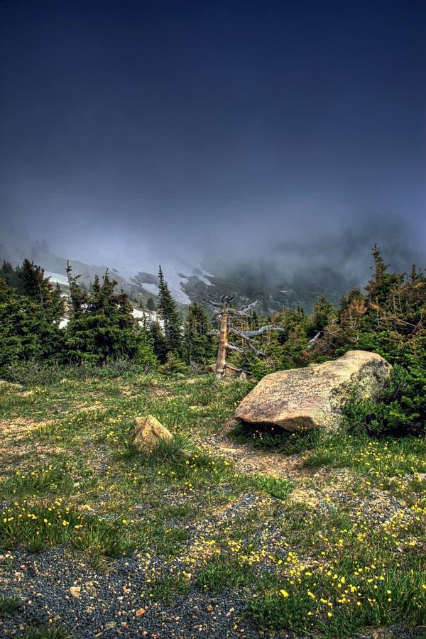 Toundra alpestre HDR de montagne photos stock